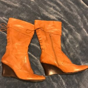 """BAKER's """"Presley"""" mid-calf LEATHER Wedge Boot -12M"""
